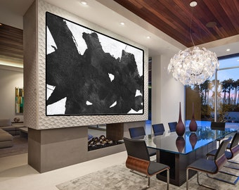 large abstract painting canvas, large wall art on canvas, abstract canvas art, black white painting canvas art, large wall art