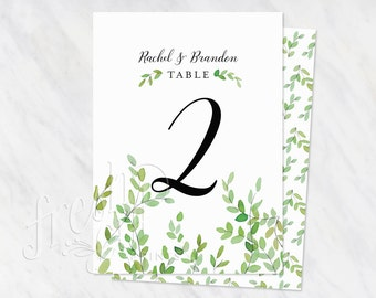 Printed Table Numbers, Wedding Suite, botanical branches, printed set, watercolor, spring green