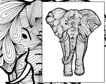 Elephant Coloring Sheet Animal Pdf Zentangle Adult Colouring Page