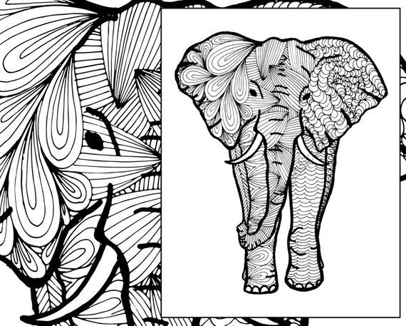 elephant coloring sheet animal coloring pdf zentangle adult. Black Bedroom Furniture Sets. Home Design Ideas