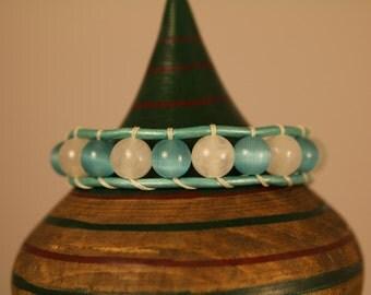 Single Wrap Bracelet - Aqua an White Beads -  Aqua Leather - Silver Button -  Free Shipping