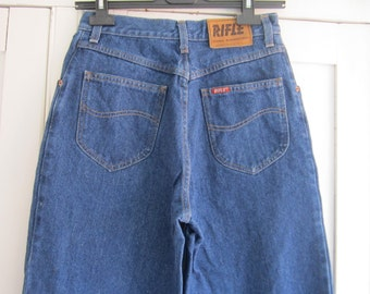 80s  Vintage Rifle Dark Blue High Waist Jeans size W29 L34