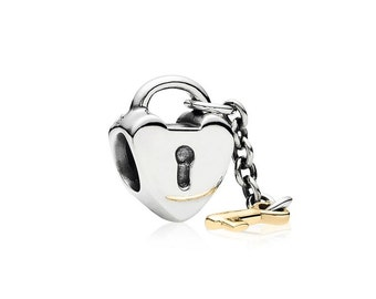 Pandora Bead Charm- Authentic Key to my heart with a 14K Gold Key 790288