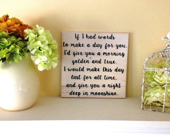 If I Had Words Lyric Plaque