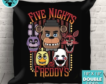 """New Five Nights At Freddy's Multi-Character Couch Pillow Decorative Pillow Throw Pillow 18""""x18"""" Black"""