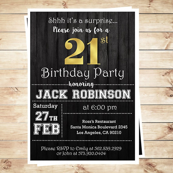Items Similar To 21 Birthday Invitations For Guys