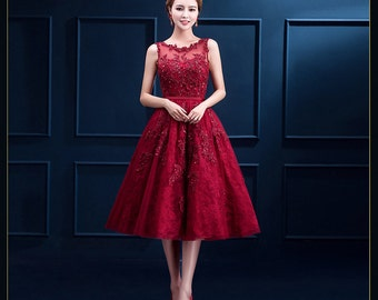 Red prom dress red evening gown red bridesmaid dress tulle dress homecoming dress
