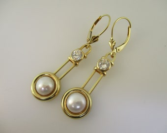 14K Yellow Gold Pearl and Cubic Zirconia Lever Back Drop Earrings