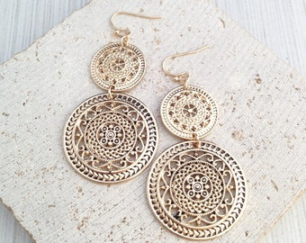 Boho Earring,Gold Boho Earring,Boho Dangle Earring,Boho Circle Earring,Circle Pendant Earring,Ethnic Earring,Ethnic Circle Earring