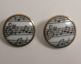 Pair of Vintage Bars of Music Treble Clef Glass Buttons