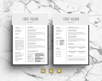 Professional Resume Template - CV Instant Download 2 Pages with Covering  Letter & Business Card Resume