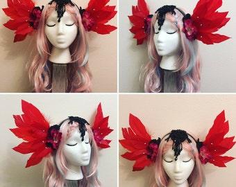 black /white swan headdress . Feather headpiece, Fairy headdress, Halloween costume,gothic headdress