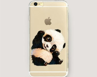Clear iPhone 7 Case, Clear iPhone Case Panda, Clear iPhone 6 Plus Case, iPhone 6s Clear Case, Clear iPhone 5 Case, Animal Print Phone Case