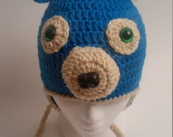 Blue crocheted bear beanie for 1 to 6 years old