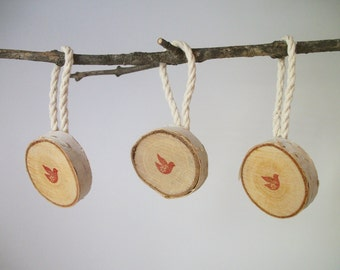 Birch Christmas Bird Ornaments, Set of 3, Rustic Christmas Ornaments, Rustic Gift Tags, Christmas Gifts, Holiday Decor, Holiday Gifts