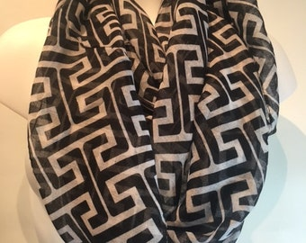 greek key scarf, greek key, buy 5 items from my shop n get one free n free shipping, contact me to get coupon code!