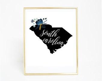 Printable Art, South Carolina - State Print