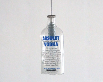 Absolute Vodka bottle ceiling hanging pendant lamp - Absolute VODKA bottle hanging pendant lamp - gift for him