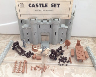 Vintage Marx Toys Castle PlaySet with Robin Hood Parts & Mounted Knight 1963 Plastic