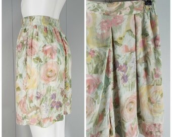 Vintage Womens 1990s Floral Watercolor Print High Waisted Rayon Shorts | Size XS