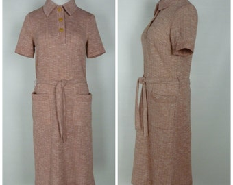 Vintage Late 60s/70s Butte Knit Short-Sleeved Heathered Pink Knit Dress with Collar