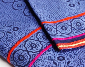 5.4m / 5.9 yards Blue Hmong Embroidered Fabric roll , Cotton Fabric, Hmong Fabric, Tribal Fabric, Ethnic Fabric, boho, Handprinted,  style