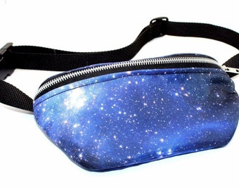 IN STOCK - Blue or Purple Available - Galaxy-Print Fanny Pack/Hip Pouch - Lined with Black Micro-Chenille Fabric