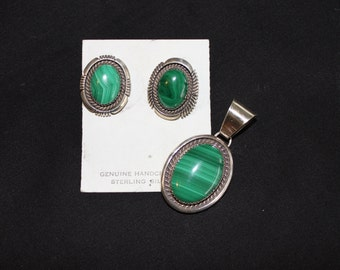 Malachite and Sterling Silver Pendant with Earrings