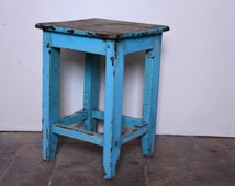 Stool Antique Shabby Chic furniture old patina, color blue, blue sky, 1940s, vintage, french