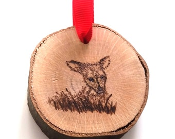 Fawn Ornament-Christmas ornament-woodland ornament-christmas tree-Wood slice Ornament-deer ornament-Rustic Decor-Reindeer-nature ornament