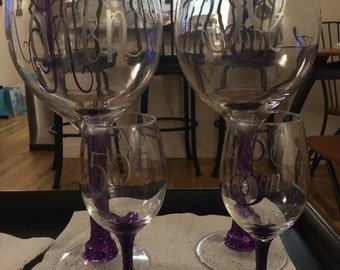 Personalized Large Wine Glass Centerpieces