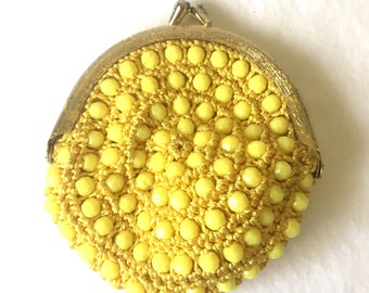 1960's Vintage Yellow Beaded Coin Purse