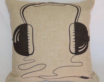 Headphones / Earphones Black / White 100% Linen Cushion Cover / Pillow Case with FREE Shipping Australia Wide!
