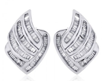 1.75 Carat Diamond Lined J-Hoop Earrings 14K White Gold