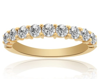 1.00 Carat Ladies Round Brilliant Diamond Wedding Band in 14K Yellow Gold