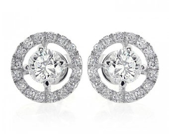1.80 Carat Halo Pave Four Prong Diamond Earrings 18K Gold