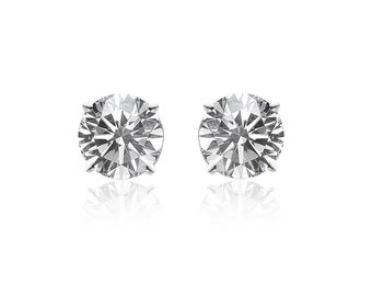 0.70 Carat Diamond Stud Earrings in 14K White Gold