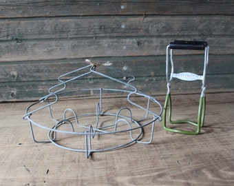 Canning jar rack and tongs