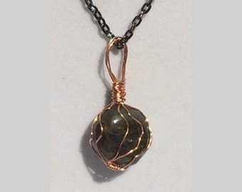 Labradorite Pendant, Handmade, Wire Wrapped Crystal (Copper Wire #2)