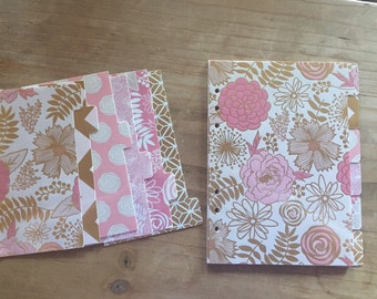 Personal  6 tab Pink blush and gold foil, A5 or pocket size Dividers / planner supplies / planner accessories / inserts /dashboard