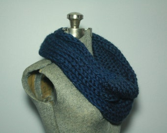 Navy Blue Hand Knitted Single Loop Infinity Scarf