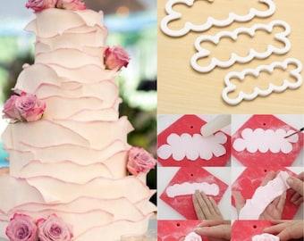 Set 3pcs Decor Handmade Tool Petal Cutter Rose Flower Fondant Mould Cake White
