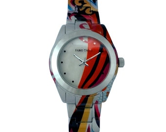 Palermo - Women Watch - Bracelet and case orange, white and blue stainless steel - made in France