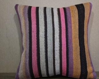 Vintage Handwoven Turkish Kilim Pillow,Cushion Cover 16x16 - 40x40 Sofa Pillow,Bohemian Pillow Decorative Pillow,Throw Pillow SP40-142