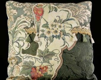 "Fruit on the Vine Pillow - Original Textile Mosaic  Collage with Free Form Applique 20"" x 20"""