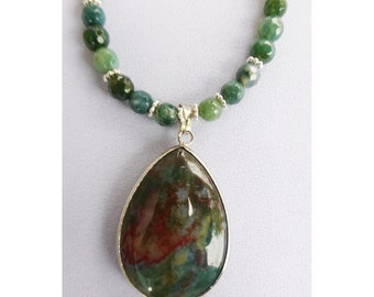 Extremely red Blood Stone pendant with faceted Moss Agate and Green Jade beaded necklace