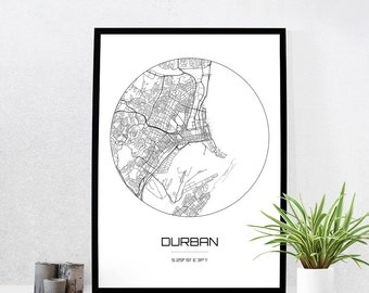 Durban Map Print - City Map Art of Durban South Africa Poster - Coordinates Wall Art Gift - Travel Map - Office Home Decor