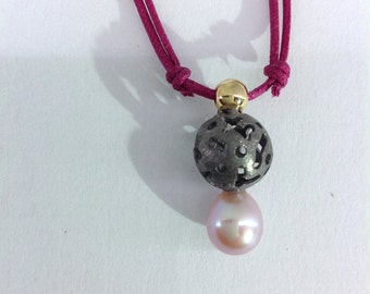 Silver and gold pendant | Sterling silver jewellery | Pearl | Natural Pearl | Fantasy