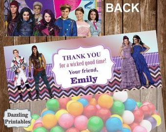 Descendants  favor bag Treat Bag Topper Purple Pink Chalkboard Printable Digital girl birthday party Ziploc TBD1