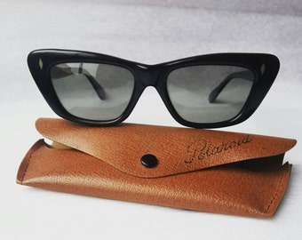 Vintage black sunglasses with the case